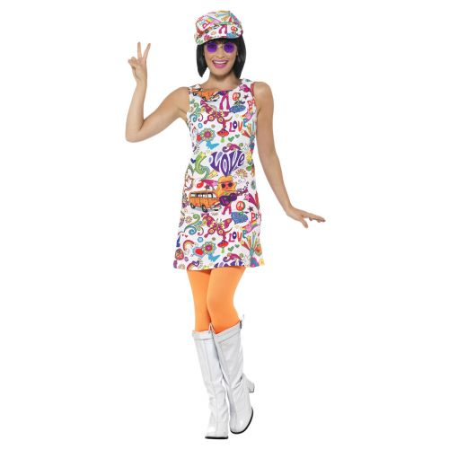 60's Groovy Chick Costume, Multi-Coloured